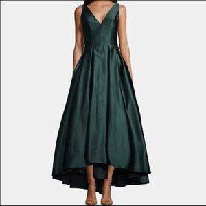 NWT- Betsy & Adam Satin Fit & Flare Gown Green